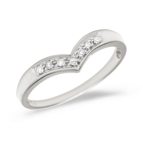 10kt White Gold .07 ct Diamond Chevron Promise Ring