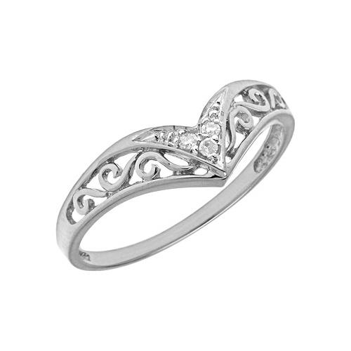 10kt White Gold .03 ct Diamond Chevron Promise Ring