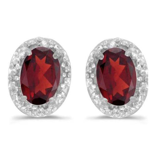 10kt White Gold .94 ct Oval Garnet Earrings with Diamonds