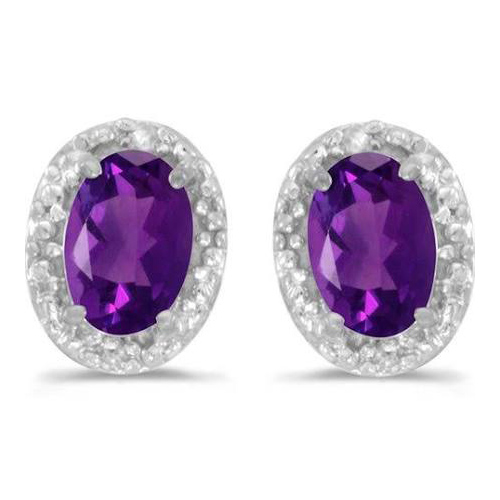 10kt White Gold .68 ct Oval Amethyst Earrings with Diamonds