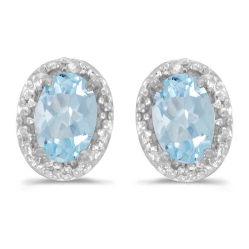 10kt White Gold .58 ct Oval Aquamarine Earrings with Diamonds