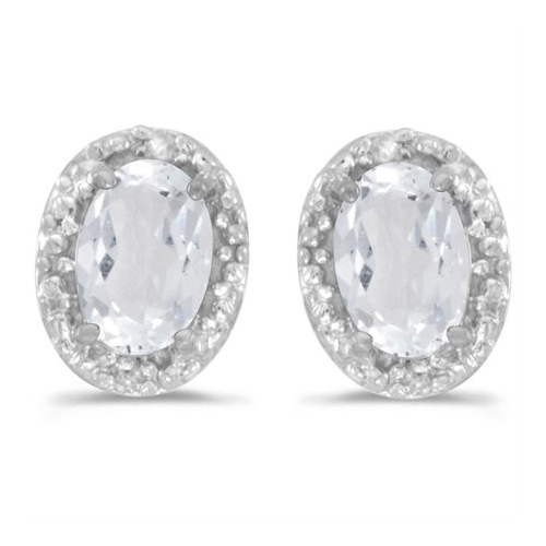 10kt White Gold .96 ct Oval White Topaz Earrings with Diamonds