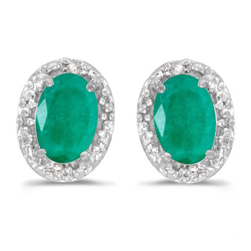 10kt White Gold .62 ct Oval Emerald Earrings with Diamonds
