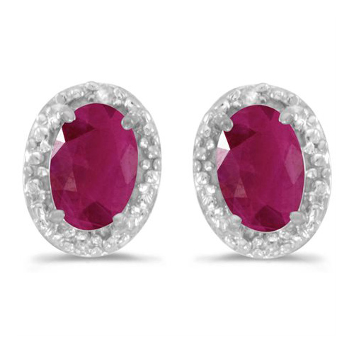 10kt White Gold .72 ct Oval Ruby Earrings with Diamonds