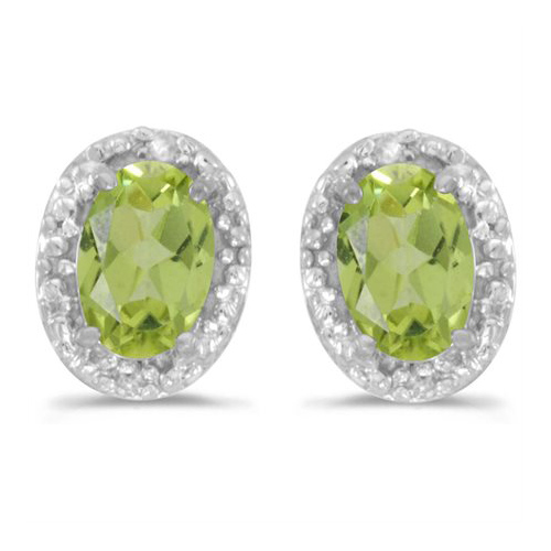 10kt White Gold .80 ct Oval Peridot Earrings with Diamonds