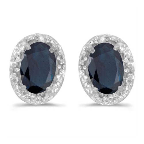 10kt White Gold .78 ct Oval Sapphire Earrings with Diamonds