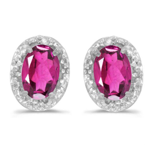 10kt White Gold .86 ct Oval Pink Topaz Earrings with Diamonds
