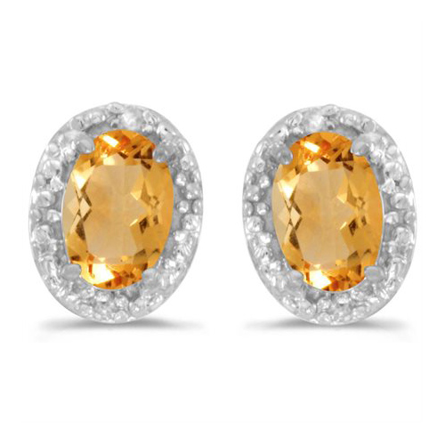 10kt White Gold .62 ct Oval Citrine Earrings with Diamonds