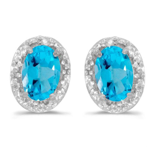 10kt White Gold .80 ct Oval Blue Topaz Earrings with Diamonds