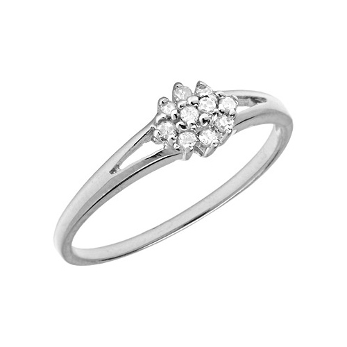 10kt White Gold .10 ct Diamond Cluster Promise Ring