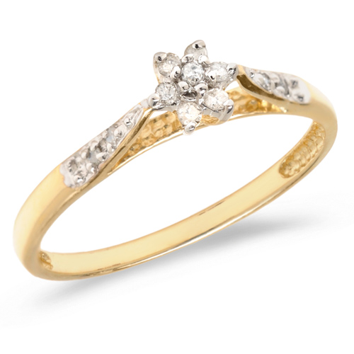 10kt Yellow Gold .10 ct Diamond Floral Cluster Promise Ring