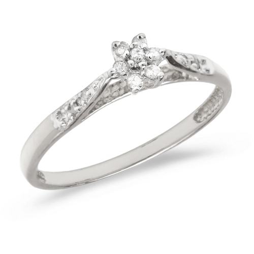 10kt White Gold .10 ct Diamond Floral Cluster Promise Ring