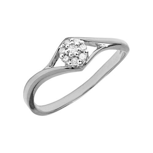 10kt White Gold .08 ct Diamond Cluster Promise Ring