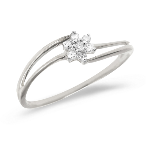10kt White Gold .07 ct Diamond Cluster Promise Ring with Split Shank