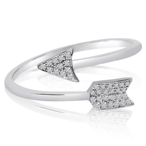 14kt White Gold 1/10 ct Diamond Arrow Ring