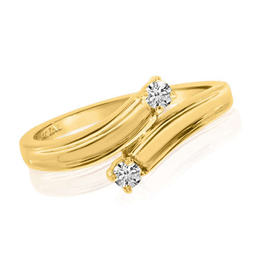 14kt Yellow Gold 1/8 ct Two-Stone Diamond Bypass Ring