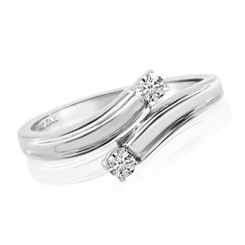 14kt White Gold 1/8 ct Two-Stone Diamond Bypass Ring