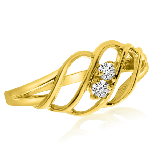 14kt Yellow Gold 1/8 ct Two-Stone Diamond Woven Ring