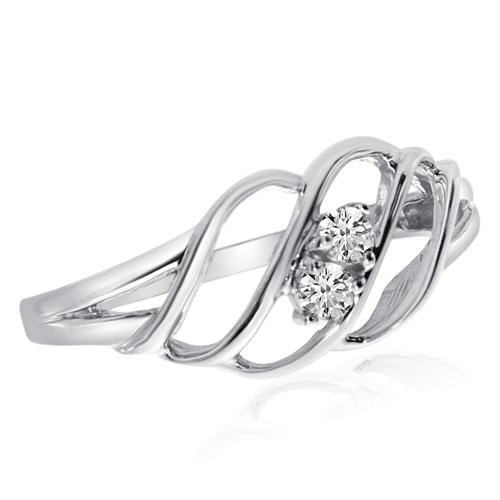14kt White Gold 1/8 ct Two-Stone Diamond Woven Ring