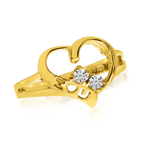 14kt Yellow Gold 1/8 ct Two-Stone Diamond Heart Ring
