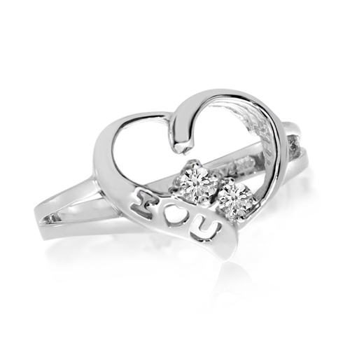 14kt White Gold 1/8 ct Two-Stone Diamond Heart Ring