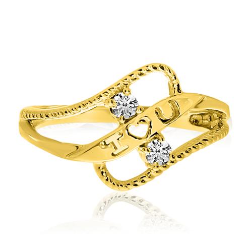 14kt Yellow Gold 1/8 ct Two-Stone Diamond Braided I Love U Ring
