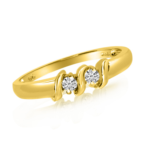 14kt Yellow Gold 1/8 ct Two-Stone Diamond Ring