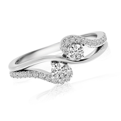 14kt White Gold 1/3 ct Diamond Two-Stone Swirl Ring