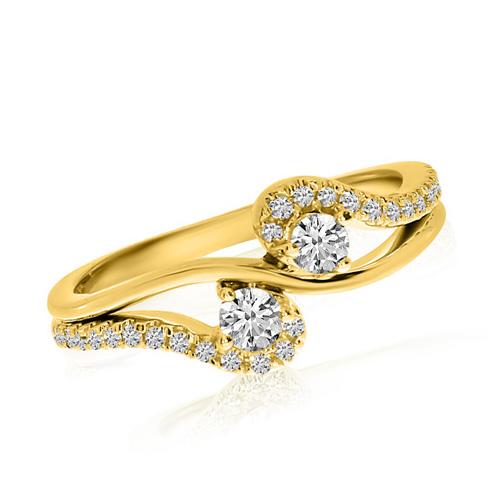 14kt Yellow Gold 1/3 ct Diamond Two-Stone Swirl Ring
