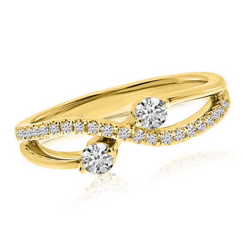 14kt Yellow Gold 1/3 ct Two-Stone Diamond Ribbon Ring