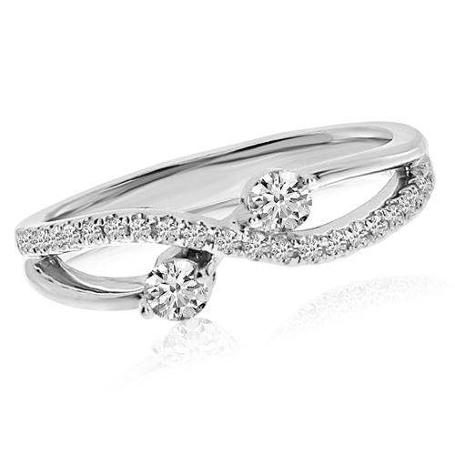 14kt White Gold 1/3 ct Two-Stone Diamond Ribbon Ring