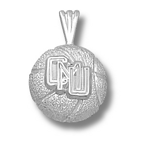 Sterling Silver 1/2in Central Michigan Basketball Pendant