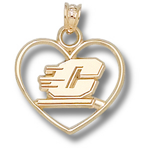 Central Michigan 5/8in 10k Heart Pendant