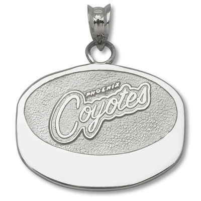 Sterling Silver 5/8in Phoenix Coyotes Puck Pendant