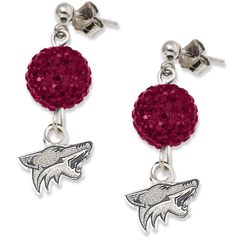 Sterling Silver Phoenix Coyotes Crystal Ovation Earrings