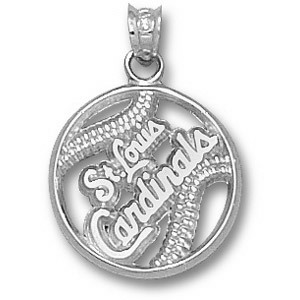 sterling silver 5 8in st louis cardinals baseball pendant crd008 ss. Black Bedroom Furniture Sets. Home Design Ideas