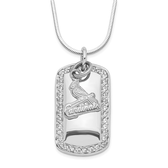 Sterling Silver St. Louis Cardinals Mini Dog Tag Necklace