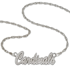 Sterling Silver 18in St. Louis Cardinals Script Necklace