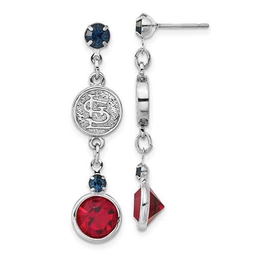 St Louis Cardinals Crystal Logo Earrings