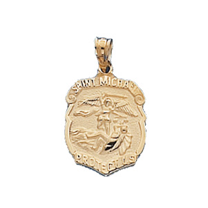 14kt Yellow Gold 5/8in St. Michael Shield Pendant