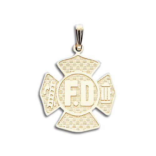 3/4in 14kt Gold FD Shield Pendant
