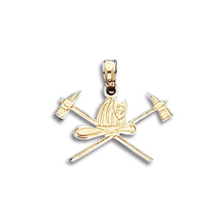 14kt Yellow Gold 1/2in Firefighter Helmet and Axes Pendant