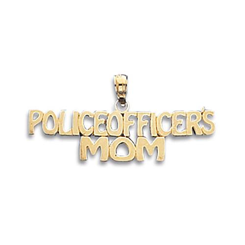 14k Yellow Gold Police Officer's Mom Pendant