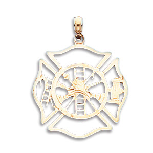 14kt Yellow Gold 13/16in Firefighter Shield Pendant