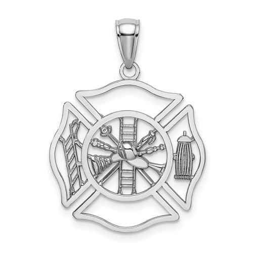 14kt White Gold 13/16in Firefighter Pendant