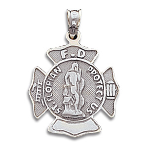 14kt White Gold 7/8in St. Florian Firefighter Pendant