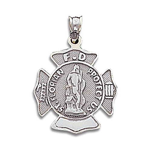 14kt White Gold 7/8in St. Florian Firefighter Pendant