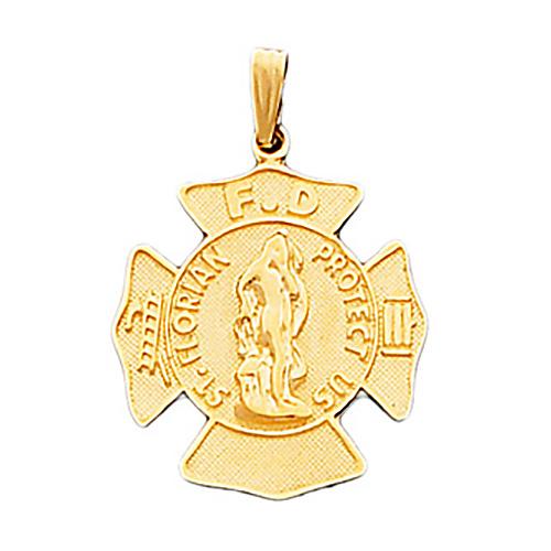15/16in 14kt Gold St. Florian Firefighter Pendant