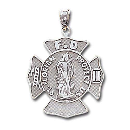 15/16in 14kt White Gold St. Florian Firefighter Pendant