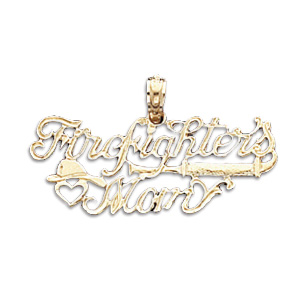 14kt Yellow Gold Firefighter's Mom Pendant